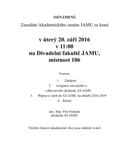 Pozvánka na zasedání AS JAMU dne 20.9.2016