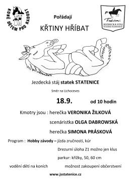 KŘTINY HŘÍBAT 18.9. od 10 hodin - Jezdecká stáj Statenice u Prahy