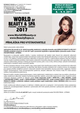 PŘIHLÁŠKA PRO VYSTAVOVATELE www.WorldOfBeauty.cz www