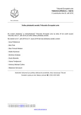 Volba předsedů senátů Tribunálu Evropské unie - curia
