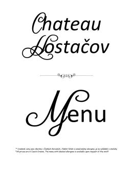 Studené předkrmy - Chateau Hostacov