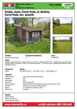 Prodej, chata, 42 m2, Černá Voda, ul. Rokliny Černá Voda, okr