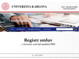 Prezentace z 21. 9. 2016 Registr smluv