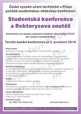 Studentská konference a Rektorysova soutěž