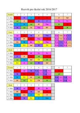 Rozvrh pro II. stupeň 2016