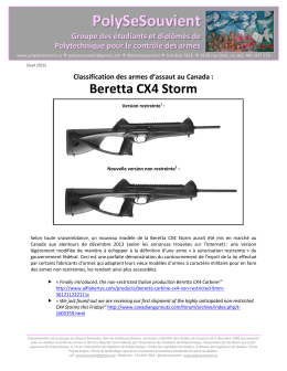 Classification des armes à feu - Beretta CX4 Storm