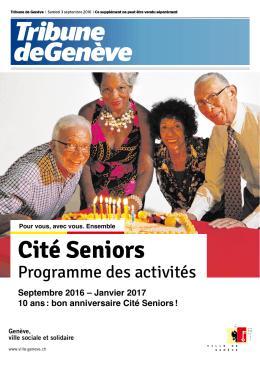 Programme des activités à Cité Seniors