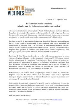 Ex-salariés de Nutréa-Triskalia : La justice pour les - Phyto