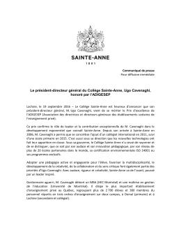 Le PDG du Collège Sainte-Anne, M. Ugo Cavenaghi, honoré par l