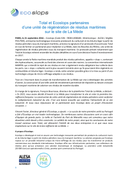 Total et Ecoslops partenaires d`une unité de régénération de résidus