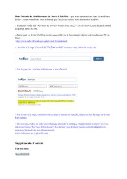 Dans l`attente du rétablissement de l`accès à PubMed