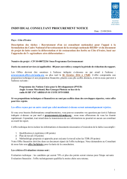 Notice de Selection et TDRs - Procurement Notices