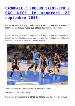 HANDBALL : TOULON SAINT-CYR / OGC NICE le vendredi 23
