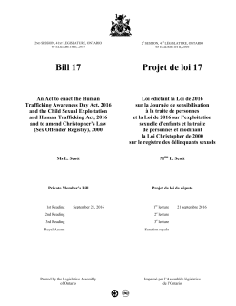 Bill 17 Projet de loi 17 - the Legislative Assembly of Ontario