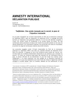 Tadjikistan: Une année marquée par le secret, la peur et l`injustice