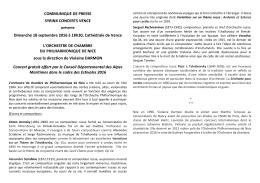 COMMUNIQUE DE PRESSE SYRINX CONCERTS VENCE