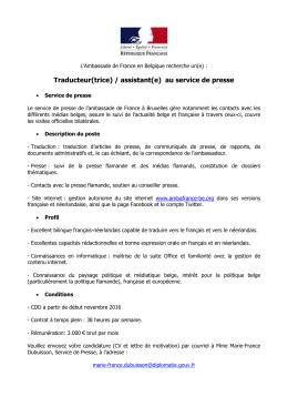 traducteur(trice - La France en Belgique