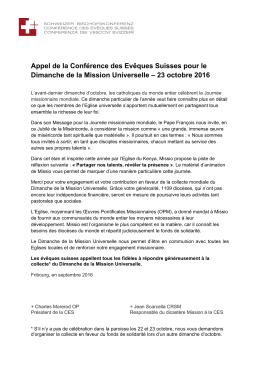 Appel de la Conférence des Evêques Suisses pour le