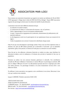 Association Mar-Lodj_article journal asso Villeneuve les Bouloc 2016
