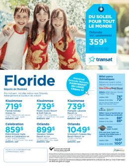 Forfaits Floride à partir de 719$ Départ de Montréal