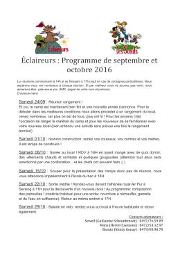 Éclaireurs : Programme de septembre et octobre 2016