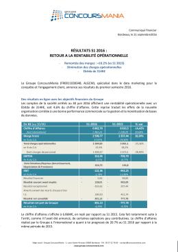 résultats s1 2016 : retour a la rentabilité