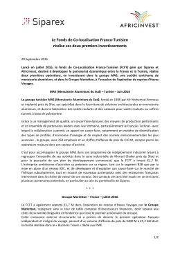 Le Fonds de Co-localisation Franco-Tunisien réalise ses