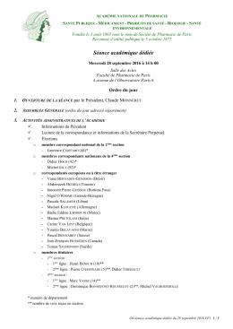 Séance académique dédiée - Académie Nationale de Pharmacie