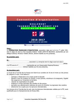 Règlement / Convention d`organisation TDA CSO 2016/2017