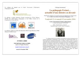 La pédagogie Freinet… - CUIP.fr | Comité Universitaire d`Information