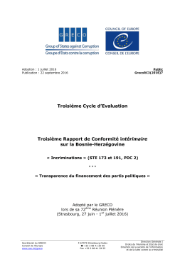 Troisième Cycle d`Evaluation Troisième Rapport de Conformité