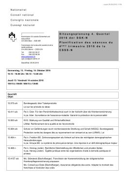 Sitzungsplanung 4. Quartal 2016 der SGK