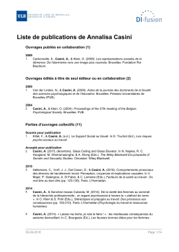 Liste de publications de Annalisa Casini
