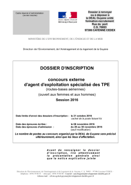 dossier d`inscription