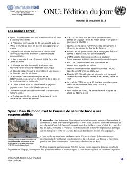 ONU: l`édition dujour
