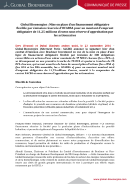 COMMUNIQUÉ DE PRESSE
