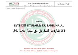 Titualaires label HALAL