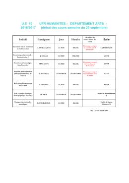 Planning U.E. 10 des semestres impairs - ged