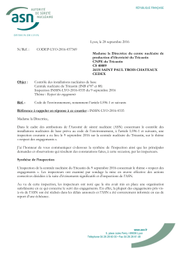 20/09/2016 Lettre de suite d`inspection Respect des