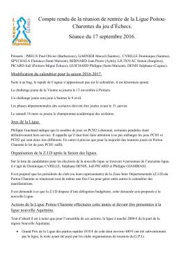 Compte rendu - Ligue Poitou