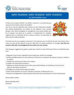 Info-Maison Septembre 2016 - École Sans