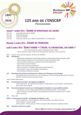Programme 125 ans de l`ENSCBP
