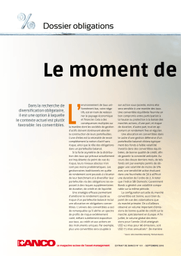 Le moment de se convert - MFM Mirante Fund Management