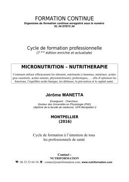 Formation Micronutrition et Nutritherapie 2016
