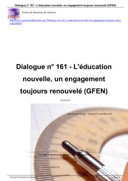 Dialogue n° 161 - L`éducation nouvelle, un engagement toujours
