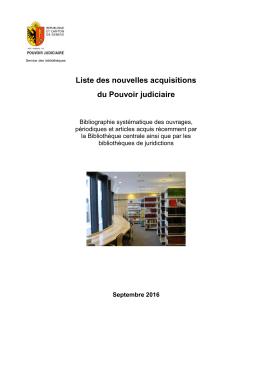 Nouvelles acquisitions de la bibliothèque - Septembre 2016