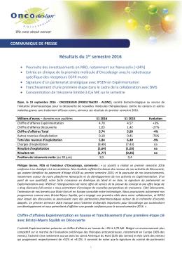Résultats du 1er semestre 2016