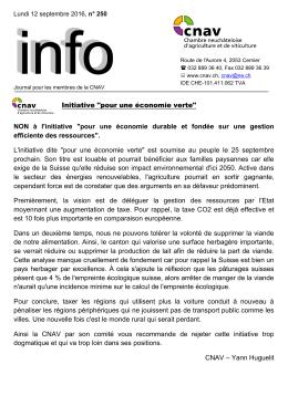 Bulletin Info n° 250 / Sept. 2016