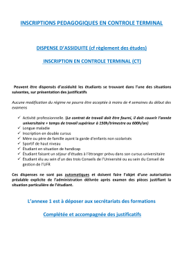 Notice de dispense d`assiduité