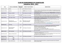 CLUB DE RANDONNEES DE CHANCELADE Calendrier 2016